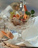 Seafood salad served on ice