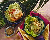 Cabbage salad with jumbo prawns and shrimp salad