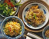 Noodle & mince salad & noodle salad with peanut sauce