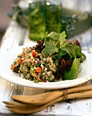 Green rye tabbouleh with rocket