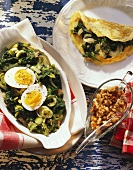 Chard omelette with nuts & spinach & leeks with eggs