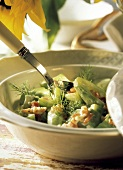 Cucumber Salad in a Serving Bowl; Spoon