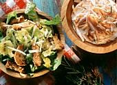 Caesar-Salat & Möhren-Salat mit Sahne-Dressing