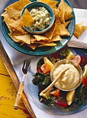 Guacamole with tortilla chips & skordallia with beetroot