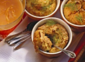 Vegetable souffle with orange sauce