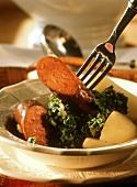 Kale with Frankfurter