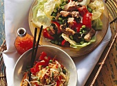 Vegetable salad with tuna and Asian cabbage salad