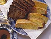 Juicy lemon cake and elegant nut cake