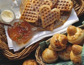 Wholemeal waffles with sour cream & marmalade; brioches