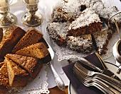 Chocolate coconut cake and port wine cake