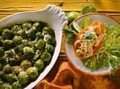 Brussels sprout gratin & papaya gratin with shrimps