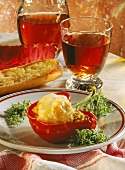 Stuffed Red Bell Pepper au Gratin; Garlic Bread; Red Wine