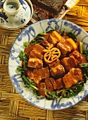Pieces of belly pork with Fu Ru (red fermented tofu)