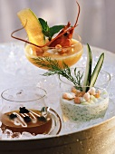 Soups: cold lobster & melon, cucumber, beef with caviare