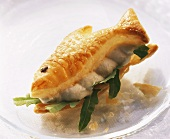 Fish-shaped puff pastry with trout mousse