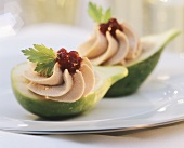 Halved figs with foie gras mousse