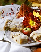 Apple cake with autumnal decoration (apple, flowers, leaves)