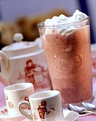 Strawberry milk shake with cream rosette
