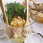Egg salad with pineapple, shrimps & beetroot leaves