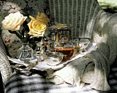 Romantic Tea Scene with Roses; Outdoors