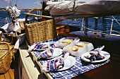 Picnic on a yacht at seaside