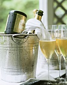 Champagne bottles in champagne buckets & half-full glasses