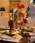Elegant Christmas Table Setting with Candles