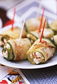 Courgette rolls stuffed with sheep's cheese & peppers