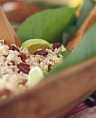 Rice with red beans and limes