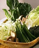 Various types of cabbage, spring onions & mushrooms