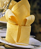 Folded Yellow Napkin at Place Setting