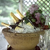 Several corked champagne bottles in stone champagne cooler