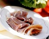 Spanish Serrano ham, sliced