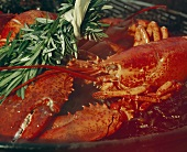 Barbecued lobster with sprig of rosemary