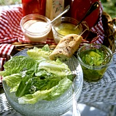 Romaine lettuce with various marinades, dips & sauces