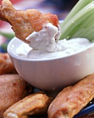 Buffalo chicken wings with cream cheese dip & celery