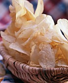 Basket with lots of potato crisps