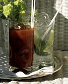Bloody Mary and Gin and Tonic; Wicker Chair