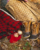 Basket rucksack, hiking boots, jacket and two apples