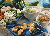 Fish and seafood fondue with dips