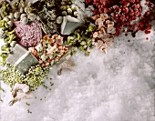 Still Life of Assorted Frozen Ingredients on Ice
