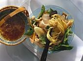 Pasta salad with turkey breast ham & horseradish marinade