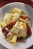 Pappardelle (broad pasta) with radicchio & goat's cheese