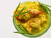 Risotto alla milanese con scampi (saffron rice with shrimp)