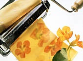 Pasta Made with Nasturiums; Pasta Machine