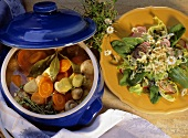 Carrots & leeks in stock & wild herb salad with Gouda