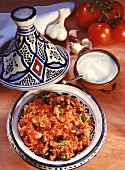 Couscous with aubergines, courgettes, tomatoes & sour cream