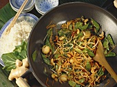 Asian Vegetable Stir Fry with Ginger and Cashews; Rice
