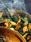 Assorted Vegetables in Bamboo Steamer