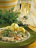 Freshwater fish ragout with courgettes, mushrooms & dill
